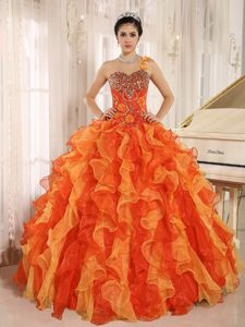 Custom Made Orange Single Shoulder Beading Dress for Quince with Ruffles