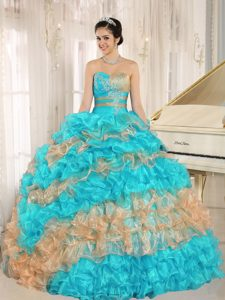 Popular Turquoise Sweetheart Quinceanera Dress with Appliques and Ruffles