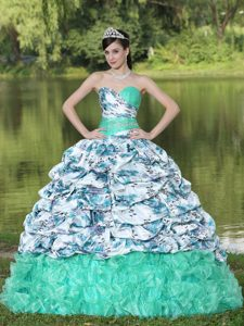 Sweetheart Printed and Beading Pick-ups Quinceanera Dress