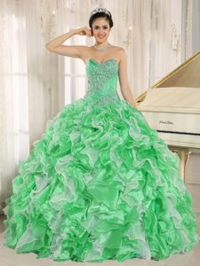 Green Beading Sweetheart Ruffled Custom Made Quinceanera Dress for 2014
