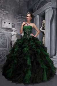 Exclusive Strapless Appliques and Ruffles Quince Dresses in Green and Black