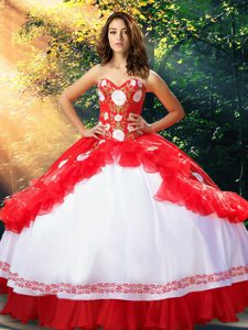 Captivating White And Red Quinceanera Dress Military Ball and Sweet 16 and Quinceanera with Embroidery and Ruffles Sweetheart Sleeveless Lace Up