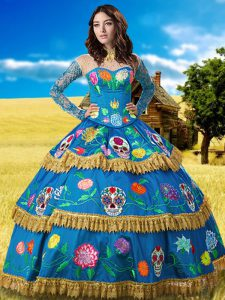 Top Selling Long Sleeves Taffeta Floor Length Lace Up Sweet 16 Quinceanera Dress in Blue with Lace and Embroidery