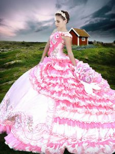 Amazing One Shoulder Ruffled Floor Length Ball Gowns Sleeveless Pink And White Quinceanera Gowns Lace Up