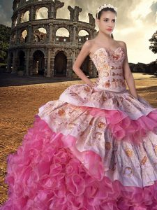 Pink And White Lace Up Sweetheart Embroidery and Ruffles Sweet 16 Dress Organza Sleeveless Court Train