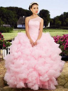 Glittering One Shoulder Baby Pink Sleeveless Tulle Lace Up 15th Birthday Dress for Military Ball and Sweet 16 and Quinceanera