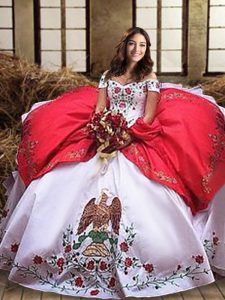 Ideal Organza and Taffeta Off The Shoulder Sleeveless Lace Up Embroidery and Ruffled Layers Vestidos de Quinceanera in White And Red