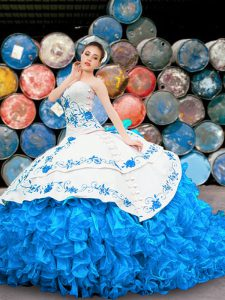 Charming Halter Top Sleeveless Organza Floor Length Lace Up 15 Quinceanera Dress in Blue And White with Appliques and Embroidery and Ruffles