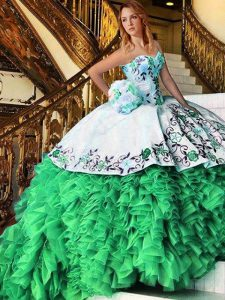 Sweet Sleeveless Floor Length Appliques and Embroidery and Ruffles Lace Up Vestidos de Quinceanera