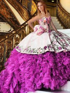 Flare Pink And White Ball Gowns Organza Sweetheart Sleeveless Appliques and Embroidery Floor Length Lace Up Vestidos de Quinceanera
