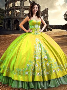 Sumptuous Yellow Green Ball Gowns Satin One Shoulder Sleeveless Lace and Embroidery Floor Length Lace Up Quince Ball Gowns