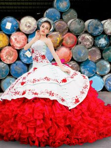 Attractive White And Red Sleeveless Floor Length Appliques and Embroidery and Ruffles Lace Up 15th Birthday Dress