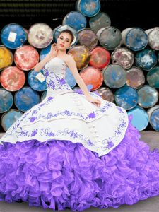 White And Purple Quinceanera Dress Military Ball and Sweet 16 and Quinceanera with Appliques and Embroidery and Ruffles Sweetheart Sleeveless Lace Up