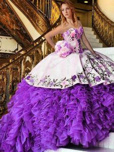 Fantastic White And Purple Sleeveless Floor Length Appliques and Embroidery Lace Up Ball Gown Prom Dress
