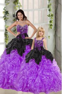 Fashion Sleeveless Floor Length Beading and Ruffles Lace Up Vestidos de Quinceanera with Black And Purple