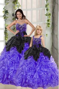 Exquisite Black And Purple Organza Lace Up Sweetheart Sleeveless Floor Length Quinceanera Gowns Beading and Ruffles