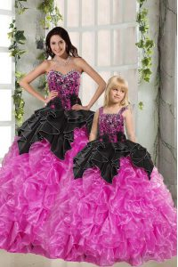 Fantastic Beading and Ruffles 15th Birthday Dress Pink And Black Lace Up Sleeveless Floor Length