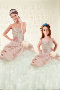 Ruffled Sweetheart Sleeveless Lace Up Vestidos de Quinceanera Pink And White Organza and Taffeta