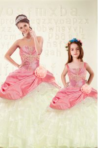 Extravagant Ruffled Ball Gowns Ball Gown Prom Dress Pink Sweetheart Organza and Taffeta Sleeveless Floor Length Lace Up