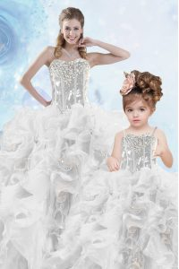 Sequins Ball Gowns Quinceanera Dresses Silver Sweetheart Organza Sleeveless Floor Length Lace Up