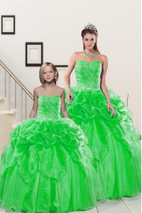 Sweetheart Neckline Beading and Pick Ups Vestidos de Quinceanera Sleeveless Lace Up