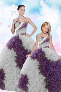 Sumptuous White And Purple Strapless Lace Up Beading and Sequins Quince Ball Gowns Sleeveless