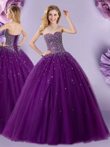 Top Selling Ball Gowns Quince Ball Gowns Dark Purple Sweetheart Tulle Sleeveless Floor Length Lace Up