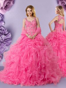 Straps Hot Pink Ball Gowns Lace Quince Ball Gowns Lace Up Organza Sleeveless Floor Length