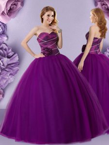 Extravagant Sleeveless Tulle Floor Length Zipper Quinceanera Gowns in Dark Purple with Hand Made Flower