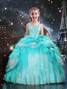 Super Aqua Blue Ball Gowns Organza Spaghetti Straps Sleeveless Beading and Ruffles Floor Length Lace Up Little Girl Pageant Gowns