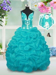 Baby Blue V-neck Lace Up Beading and Pick Ups Glitz Pageant Dress Sleeveless