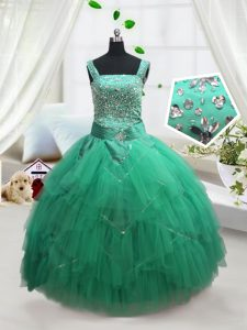 Discount Straps Sleeveless Glitz Pageant Dress Floor Length Beading and Ruffles Turquoise Tulle