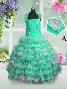 Gorgeous Green Lace Up Straps Beading and Appliques and Ruffled Layers Girls Pageant Dresses Organza Sleeveless