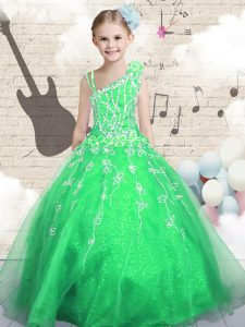 Green Lace Up Pageant Dress for Teens Beading and Appliques and Hand Made Flower Sleeveless Floor Length
