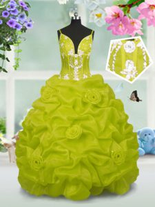 Sleeveless Taffeta Floor Length Lace Up Pageant Dress Wholesale in Yellow Green with Beading and Pick Ups
