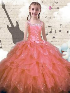 Halter Top Sleeveless Lace Up Floor Length Beading and Ruffles Little Girls Pageant Gowns