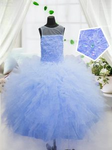Perfect Scoop Baby Blue Sleeveless Organza Zipper Winning Pageant Gowns for Party and Wedding Party