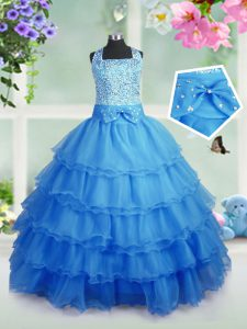 Lovely Baby Blue Sleeveless Floor Length Beading and Ruffled Layers Zipper Pageant Dresses