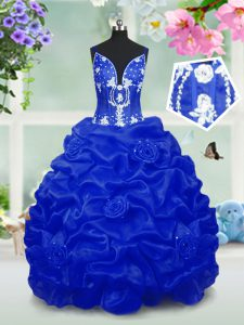 V-neck Sleeveless Kids Pageant Dress Floor Length Beading and Pick Ups Royal Blue Taffeta