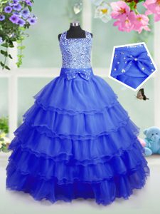 Adorable Royal Blue Ball Gowns Organza Square Sleeveless Beading and Ruffled Layers Floor Length Zipper Kids Formal Wear