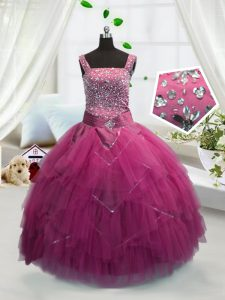 Fashion Rose Pink Lace Up Evening Gowns Beading and Ruffles Sleeveless Floor Length