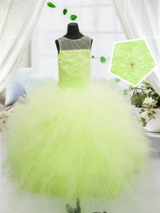 Yellow Green Ball Gowns Scoop Sleeveless Tulle Floor Length Zipper Beading and Appliques Child Pageant Dress