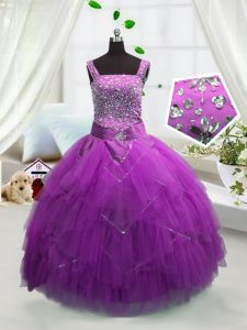 Trendy Beading and Ruffles Pageant Gowns Fuchsia Lace Up Sleeveless Floor Length