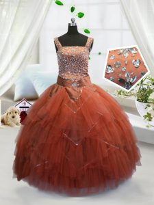 Tulle Sleeveless Floor Length Custom Made Pageant Dress and Beading and Ruffles