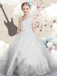 Floor Length Silver High School Pageant Dress Organza Sleeveless Beading and Appliques and Hand Made Flower