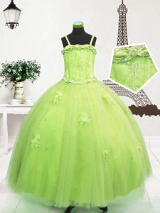 Beading and Appliques Pageant Gowns Yellow Green Zipper Sleeveless Floor Length