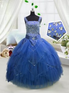 Floor Length Royal Blue Winning Pageant Gowns Tulle Sleeveless Beading and Ruffles