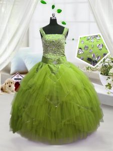 Beading and Ruffles Pageant Dress Wholesale Yellow Green Lace Up Sleeveless Floor Length