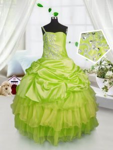 Custom Fit Pick Ups Ruffled Ball Gowns Little Girls Pageant Dress Yellow Green One Shoulder Satin and Tulle Sleeveless Floor Length Lace Up