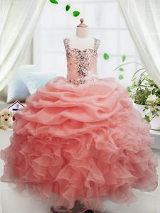 Pick Ups Peach Sleeveless Organza Zipper Winning Pageant Gowns for Party and Wedding Party